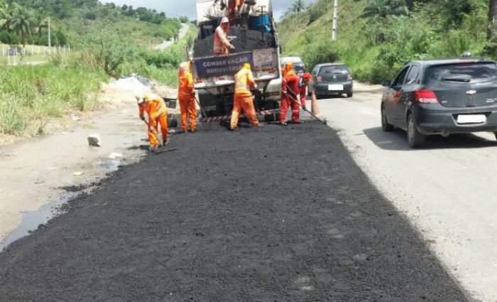 DER conclui conservação emergencial em trecho da BR-101. Foto: DER/ Divulgação