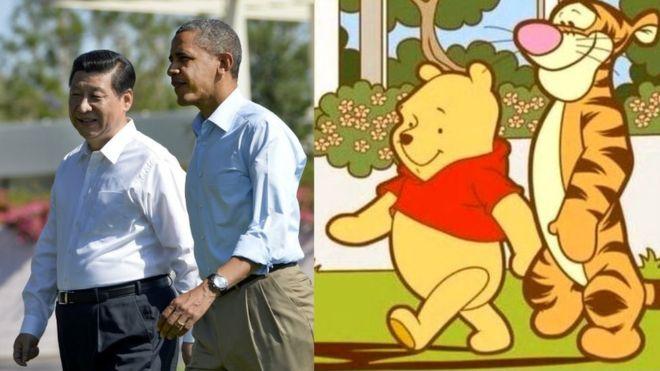 Parecidos? Montagens com o ursinho estão sendo censuradas. Foto: Facebook/Reprodução