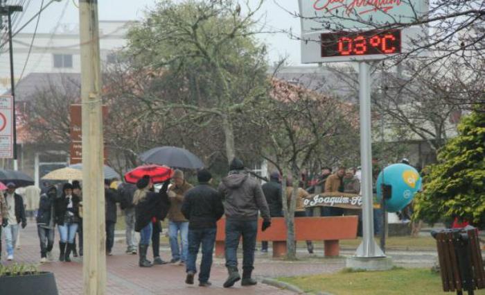 Em São Joaquim (SC), os termômetros marcaram 3 graus Celsius. Foto: James Tavares/Secom