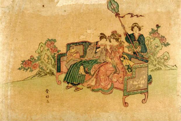 Trabalho de Katsukawa Shunko é um exemplo de gravura do Período Edo, quando o Japão era isolado dos outros países. Crédito: Jaime Acioli/Reprodução