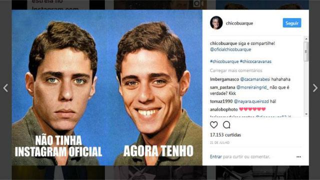 Chico Buarque de Hollanda está no Instagram há apenas duas semanas. Foto: Instagram/Reprodução