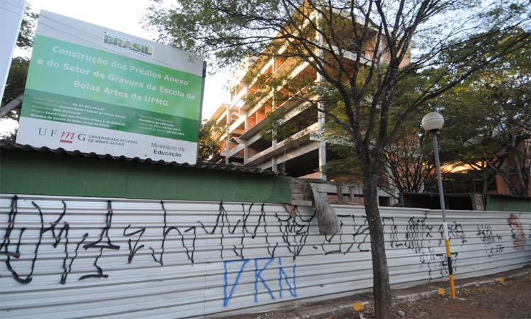Projeto suspenso na Escola de Belas Artes da UFMG: assim como em várias outras instituições mantidas pela União, maioria das obras foi paralisada. Foto: Leandro Couri/EM/DA Press