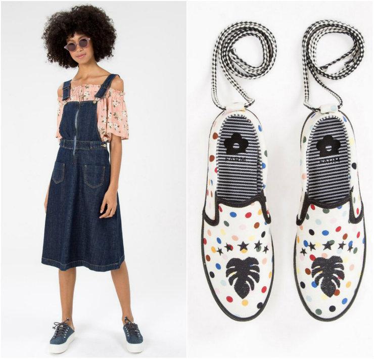 A proposta da coleção é estender o lifestyle da marca aos calçados, com estampas floridas e cores variadas. Fotos: Farm/Divulgação