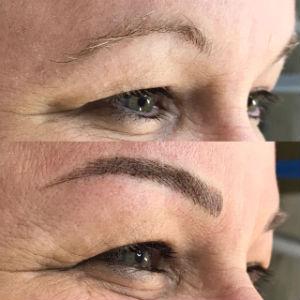 Antes e depois da micropigmentação nas sobrancelhas. Foto: H9 Instituto de Beleza/Divulgação