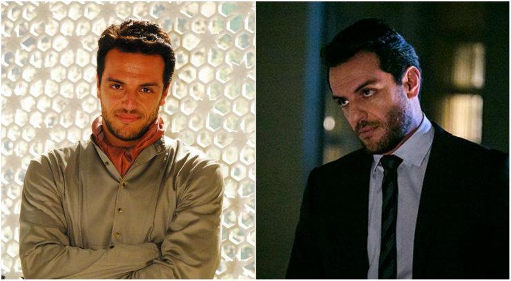 Raj (esquerda) e Alex (direita) consolidaram a imagem de Rodrigo Lombardi como galã na televisão brasileira. Fotos: Rede Globo/Reprodução