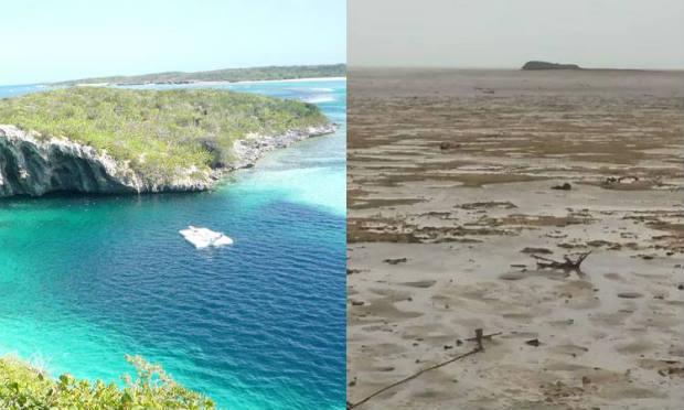 Antes e depois da passagem do furacão Irma em Long Island, Bahamas. Crédito: Wikimedia Commons e Reprodução do Twitter/@deejayeasya