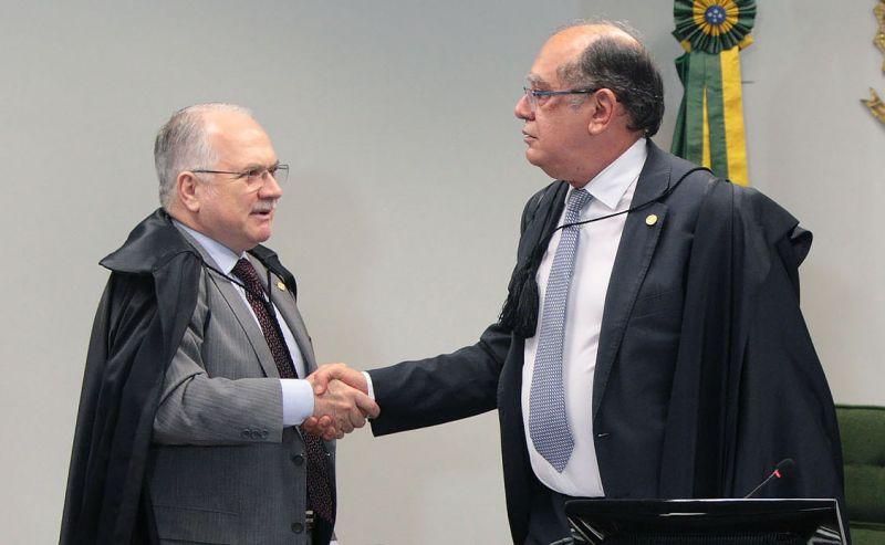 A conversa entre os ministros ocorreu ontem no plenário da Segunda Turma, da qual ambos fazem parte. Foto: Nelson Jr./SCO/STF