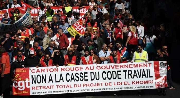A polícia, porém, estimou esse número em 223 mil. As greves tiveram impacto limitado. Foto: AFP