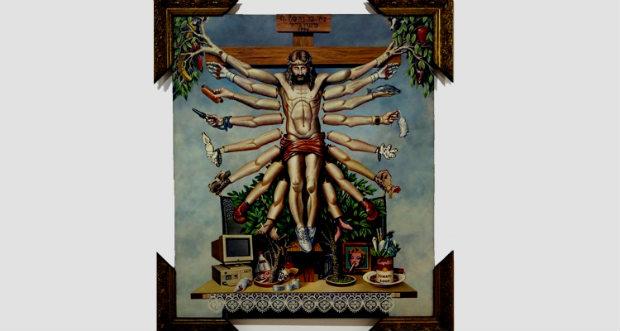 Obra Cruzando Jesus Cristo com Deusa Shiva (1996), de Fernando Baril. Crédito: Santander Cultural/Divulgação