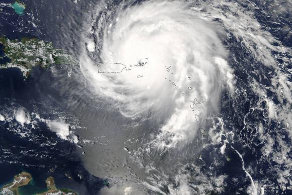 Furacão Irma sobre o Caribe, o mais forte registrado no Oceano Atlântico. Foto: Divulgação/Nasa