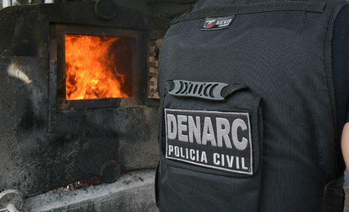 Polícia Civil incinera meia tonelada de drogas. Foto: Polícia Civil/ Divulgação