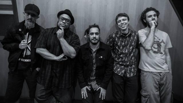 Grupo formado por Marcelo D2, BNegão, Nobru Pederneiras, Formigão, Pedro Garcia era a principal atração do festival. Foto: Planet Hemp/Divulgação