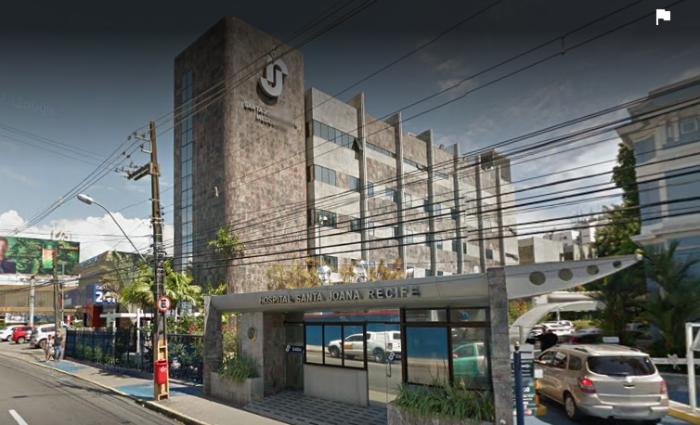Pai e filha permanecem internados no Hospital Santa Joana, no Recife. Foto: Google Street View/ Reprodução
