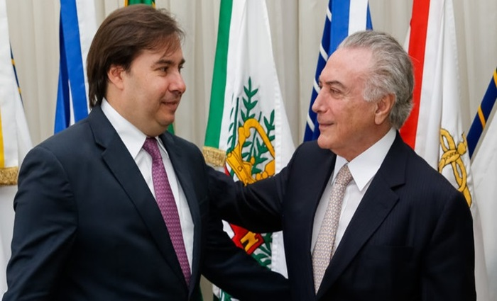 Michel Temer e o presidente da Câmara dos Deputados, Rodrigo Maia. Foto: Reprodução