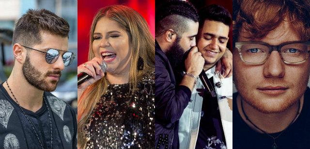 Alok, Marília Mendonça, Matheus e Kauan e Ed Sheran são alguns dos artistas mais populares. Fotos: Facebook/Reprodução