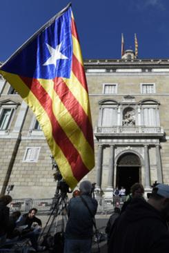 Bandeira da Catalunha. Foto: LLUIS GENE/ AFP