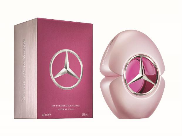 O desenho de coração na embalagem possui um círculo transparente e é a morada da estrela lendária da Mercedes-Benz. Foto: Mercedes-Benz Parfums/Divulgação