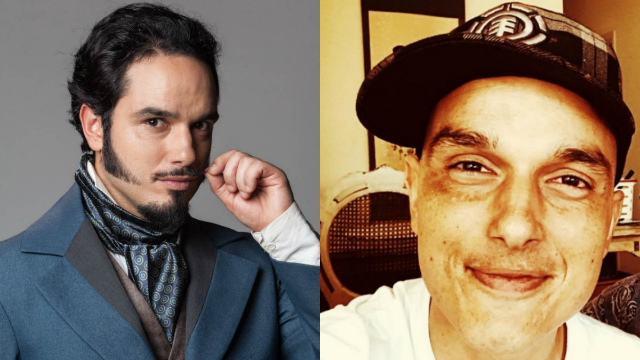 À esquerda, Léo caracterizado como Átila para a novela Escrava Mãe. Foto: Record/Divulgação e Instagram/Reprodução