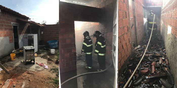 Segundo a vizinhança, o casal entrou em discussão e um deles ateou fogo na própria casa. Foto: Corpo de Bombeiros/Divulgação