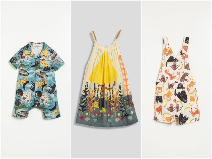 As peças são criadas para meninos e meninas de até 10 anos. A linha Bento, para meninos, se lança nas araras com coleção inspirada na Amazônia. Fotos: Fábula/Divulgação
