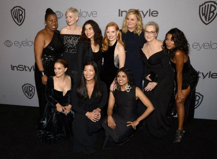 Grandes nomes da indústria do cinema e da televisão aderiram ao movimento contra o assédio e a desigualdade de gênero nos bastidores de Hollywood. Foto: AFP/Divulgação