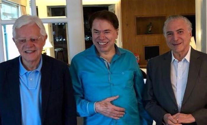 O apresentador Silvio Santos se reuniu com o presidente Michel Temer. Foto: Reprodução/Twitter