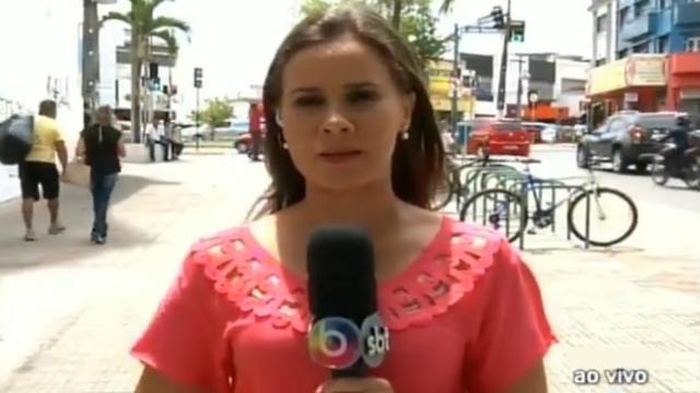 A repórter Cláudia Gomes fez o relato durante o programa jornalístico Patrulha da Cidade. Foto: TV Borborema/Reprodução