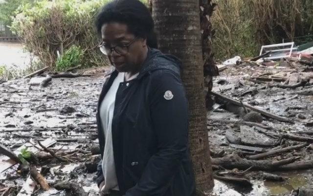 Nas imagens, Oprah mostra profundidade da lama em casa e no vizinho. Foto: Instagram/Reprodução