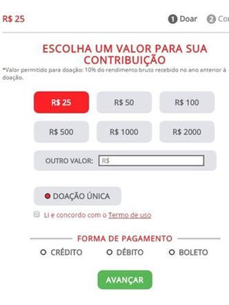 Os usuários escolhem a forma de pagamento e os valores são variados - Foto: Reprodução