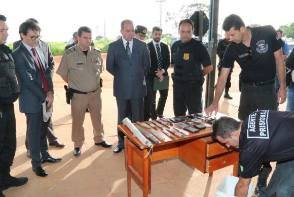 Em nova inspeção, policiais encontram armas, celulares e drogas no Complexo Prisional de Aparecida de Goiânia. Foto: Jota Eurípedes/DGAP-GO