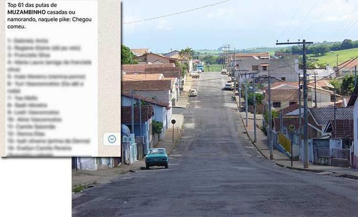 Uma das listas que circulou e, ao fundo, a cidade Muzambinho - Foto: Reprodução/ Whatsapp e Wikicomons