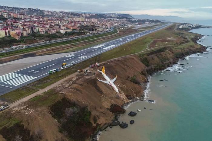 Avião parou perigosamente no limite de um precipício nas margens do Mar Negro. Foto: AFP/Ihlas Stringer