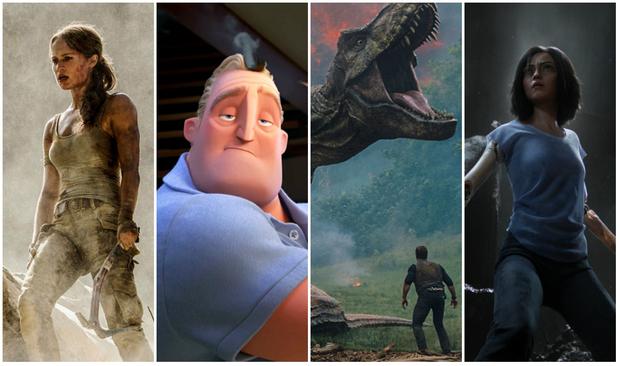 Tomb Raider, Os Incríveis 2, Jurassic World e Alita: Anjo de Combate, são alguns dos próximos blockbusters. Fotos: Warner Bros./Pixar/Paramount/Sony Pictures/Divulgação