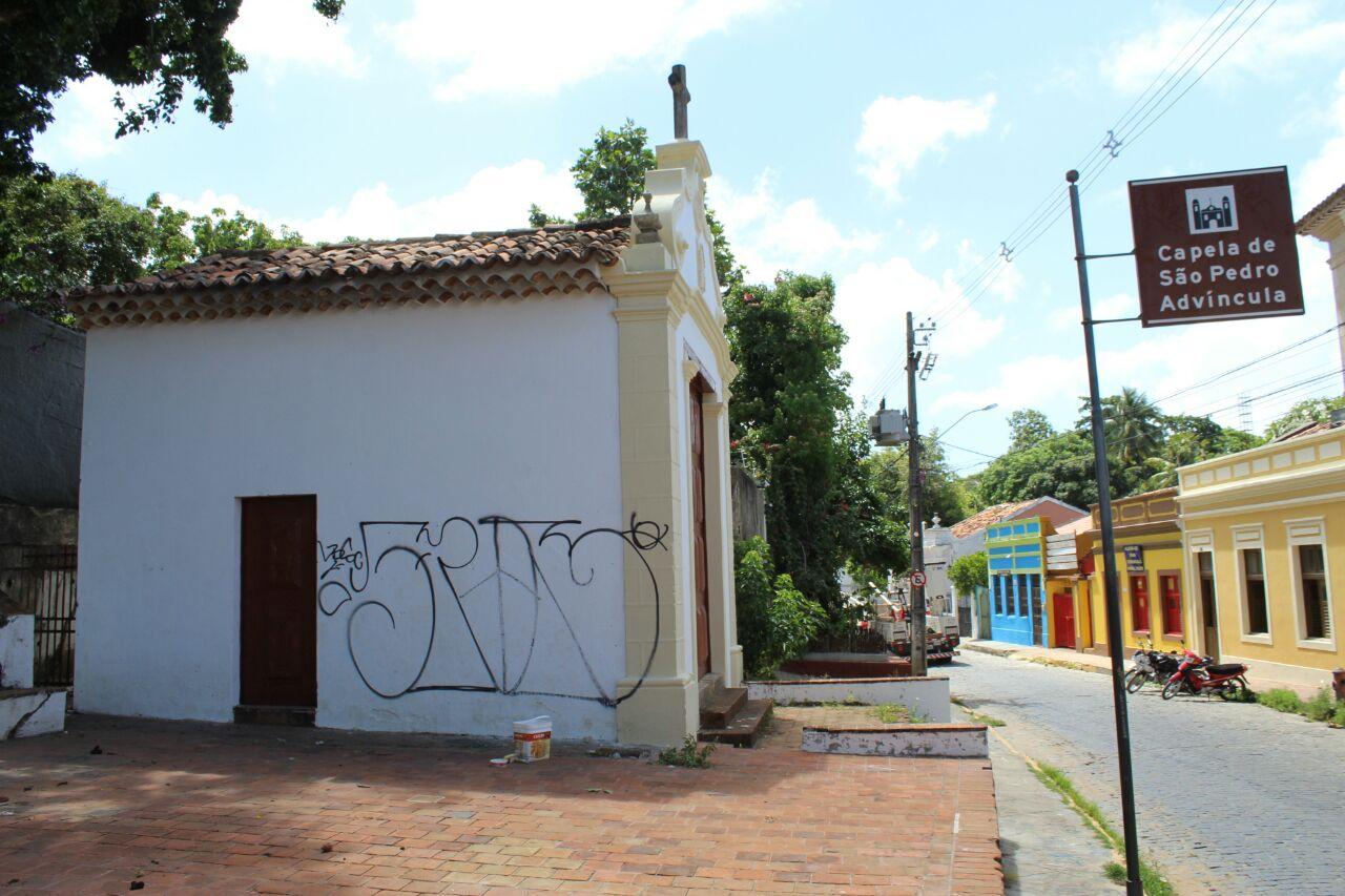 Templo religioso foi pichado no último fim de semana. Foto: Secom Olinda/Divulgação (Templo religioso foi pichado no último fim de semana. Foto: Secom Olinda/Divulgação)