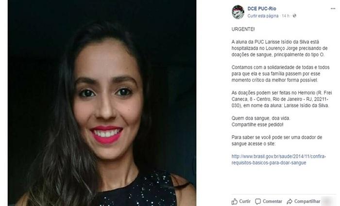 Colegas de Larisse pedem doação de sangue para a jovem - Foto: Facebook/Reprodução