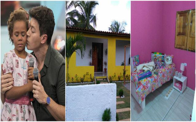 A garota recebeu a casa seis meses após ter ganho em programa de TV. Fotos: Record TV/Reprodução e Cortesia