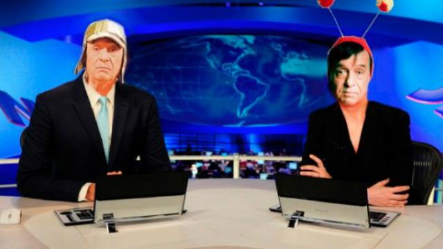Chaves e Chapolin comandam o telejornal mais tradicional da Globo. Foto: Twitter/Reprodução