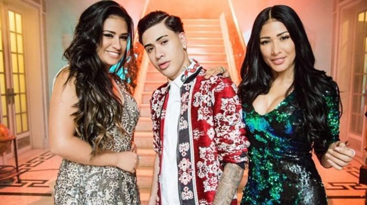 Simone, Kevinho e Simaria no set de gravação do videoclipe. Foto: Kondzilla/Divulgação