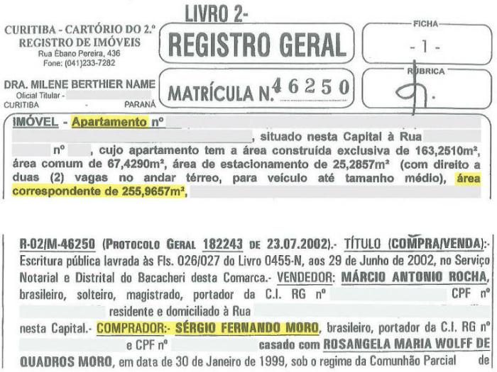 """A """"certidão"""" do imóvel foi obtida pela Folha de SP. Foto: Reprodução"""