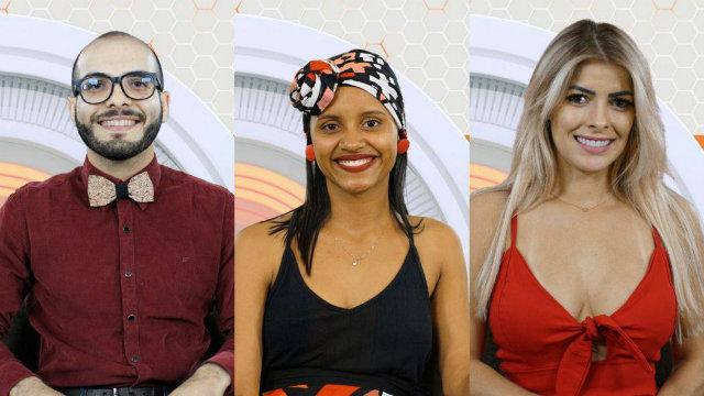 Mahmoud, Gleici e Jaqueline se enfrentam no segundo paredão do BBB18. Foto: TV Globo/Divulgação