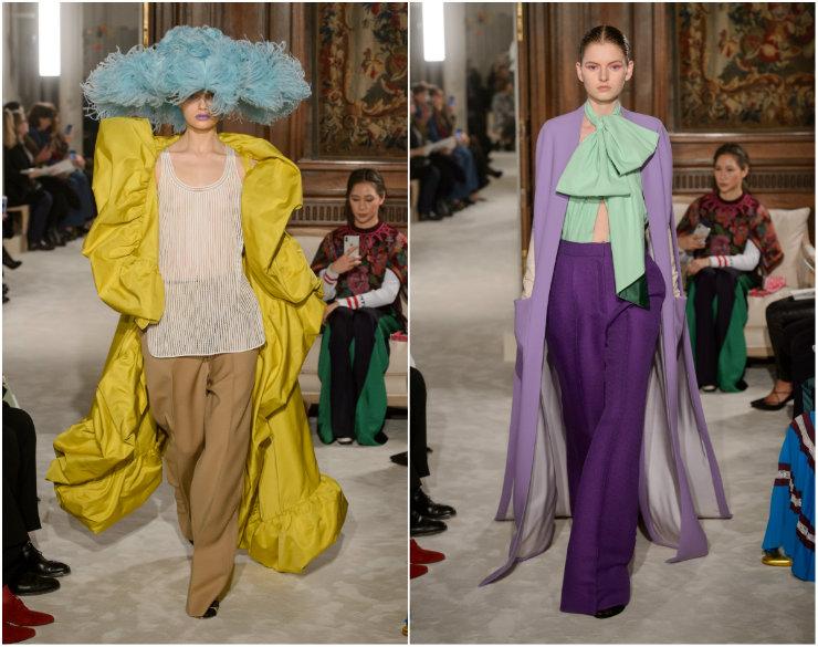 Volumes da Valentino chamaram a atenção na passarela francesa. Fotos: Getty Images/Divulgação