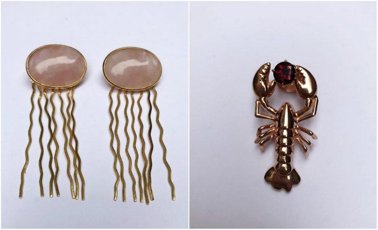 Água-viva e lagosta são algumas das criaturas transformadas em joias pela dupla. Fotos: @natachabarbosabrand/Divulgação