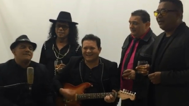 Ximbinha aparece acompanhado de Kim Marques, Marcelo Wall, Edilson Moreno e Nelsinho Rodrigues. Foto: Instagram/Reprodução