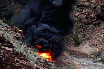 Queda de helicóptero foi na reserva de Hualapai Nation. Foto: KSNV/Teddy Fujimoto/Cortesia