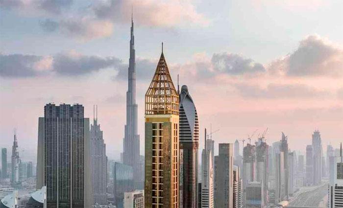 O Gevora Hotel ocupa uma torre de 75 andares de cor dourada. Foto: Dubai%u2009Media Office/Twitter/Reprodução