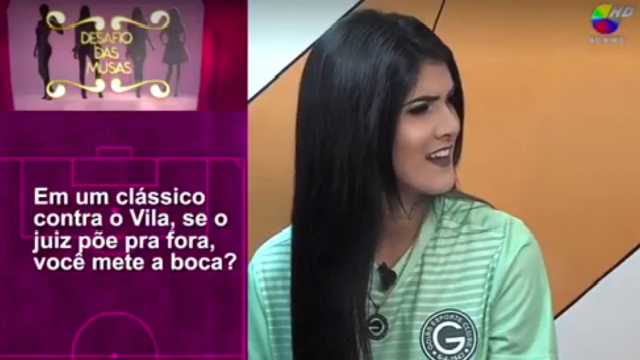 Karol Barbosa se mostrou desconfortável com as perguntas. Foto: TV Goiânia/Reprodução