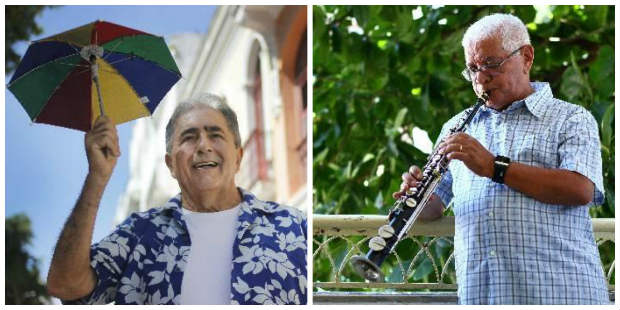 Getúlio Cavalcanti e Maestro Duda são dois dos maiores compositores vivos de frevo. Crédito: Marlon Diego/DP e Paulo Paiva/DP