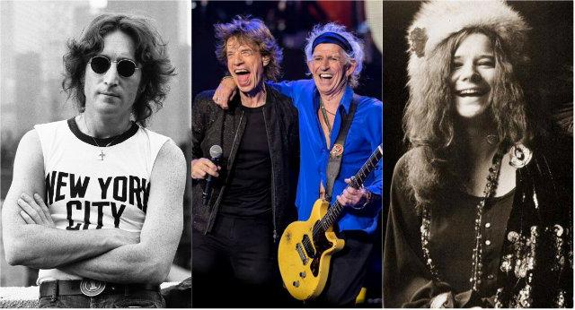 John Lennon, Rolling Stones e Janis Joplin aparecem no documentário. Fotos: Bob Gruen/EFE, Carlos Muller/Divulgação e Facebook/Reprodução