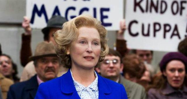 Meryl Streep como Margaret Thatcher em A Dama de Ferro. Foto: Paris Filmes/Divulgação