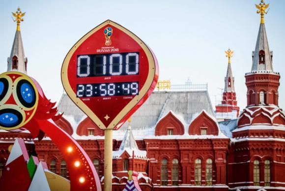 Relógio em Moscou marca a contagem regressiva de 100 dias para a Copa da Rússia 2018. Foto: Fifa/Divulgação (Relógio em Moscou marca a contagem regressiva de 100 dias para a Copa da Rússia 2018. Foto: Fifa/Divulgação)